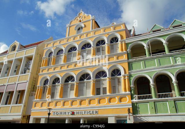Curaçao Netherlands Antilles Dutch Willemstad Punda Breedestraat UNESCO World Heritage Site colonial architecture - Stock Image