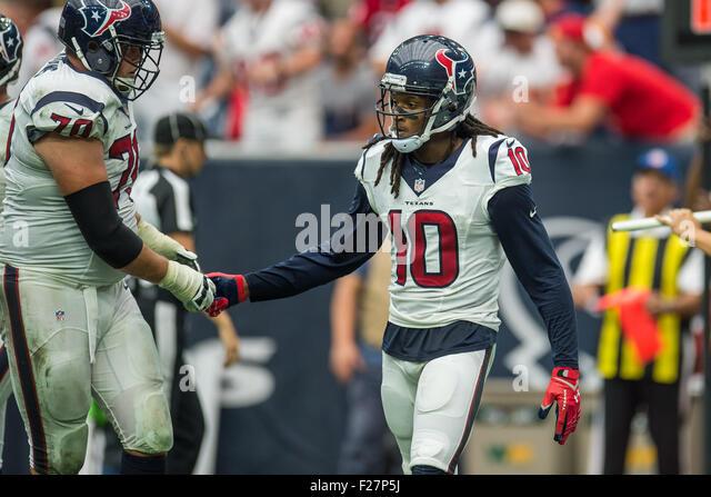 Houston, Texas, USA. 13th Sep, 2015. Houston Texans wide receiver DeAndre Hopkins (10) celebrates with Houston Texans - Stock Image