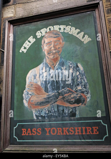 The Sportsman Pub sign, Bass Yorkshire, Huddersfield, West Riding, England, UK - Stock Image