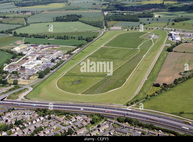 Aerial image of Wetherby Racecourse, West Yorkshire - Stock Image