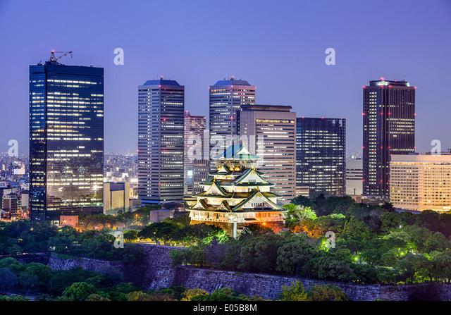 Osaka, Japan at Osaka Castle and Business Park. - Stock Image