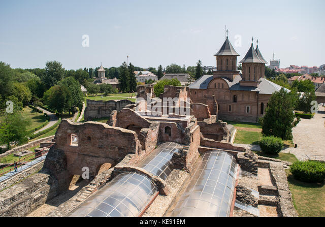 Aerial view of the Princely Court showing St. Friday Church in Targoviste, Dambovita, Romania. - Stock Image