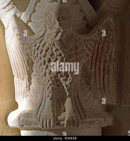Owl capital of column Croute church Gers France - Stock Image