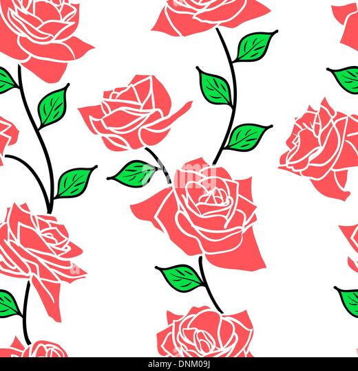 Beautiful  seamless wallpaper with rose flowers, vector illustration - Stock-Bilder