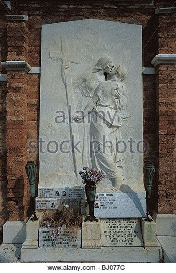 Memorial, the island cemetery of San Michele, Venice, Italy - Stock-Bilder