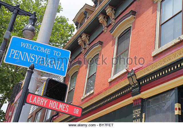 Pennsylvania Easton Lehigh Valley Northampton Street Larry Holmes Drive boxing champion local celebrity historic - Stock Image