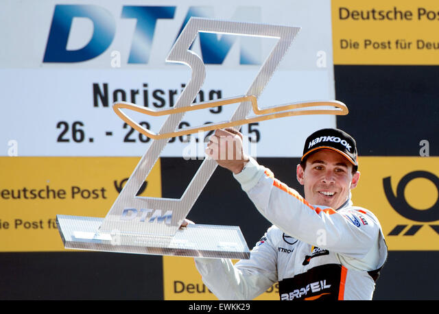 Nuremberg, Germany. 28th June, 2015. The victor Robert Wickens (Mercedes-AMG) celebrates at the Norisring DTM race - Stock Image