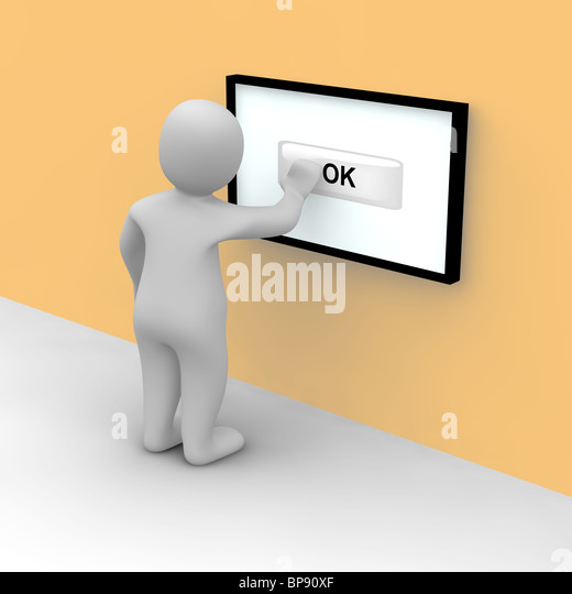 Man taps on ok button on the touch screen. 3d rendered illustration. - Stock Image