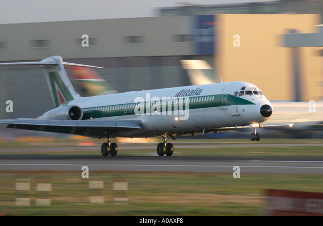 Alitalia McDonnell Douglas MD 82 DC 9 82 touching down at London Heathrow Airport UK - Stock Image