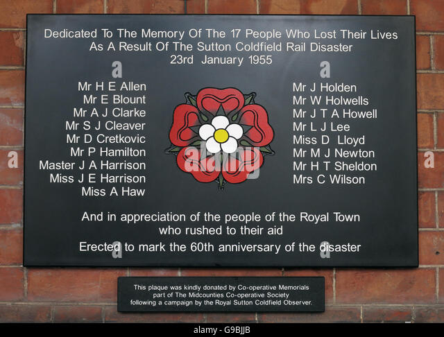 Sutton Coldfield Rail Disaster memorial,West Midlands,England,UK 23/01/1955 - Stock Image