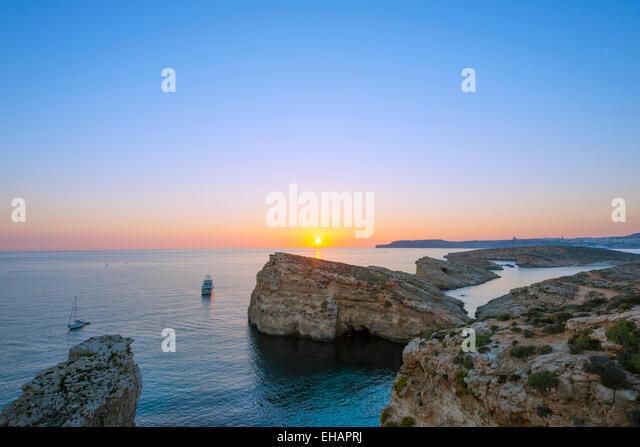 Mediterranean Europe, Malta, Comino island, sunset - Stock Image