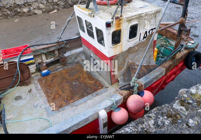Fishing boat in dry dock - Stock Image