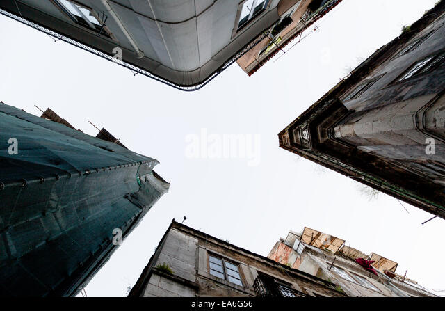 Portugal, Lisbon, Low angle view of houses - Stock Image