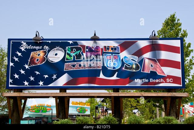 Hard Rock Park Myrtle Beach South Carolina SC Born in the USA Billboard section of theme park - Stock Image