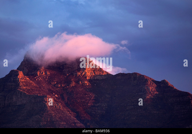 Sunset over Table Mountain, Cape Town, South Africa - Stock Image