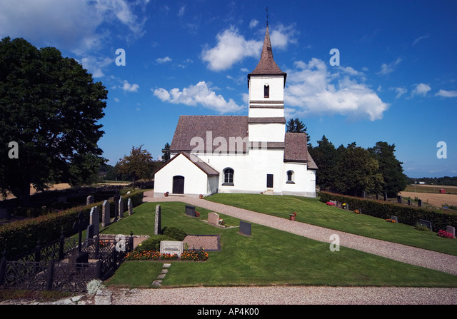 Ask church in Östergötland Sweden from the 10th century with wall painting by Anund dated from 1300th - Stock-Bilder