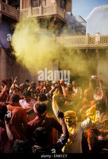 Lathmar Holi celebrations in Nand Rae Temple, Nandagaon, Braj, Uttar Pradesh, India, Asia - Stock Image