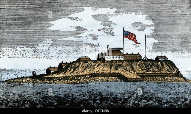 Castle Island flying the new U.S. flag in Boston harbor, 1789. - Stock Image