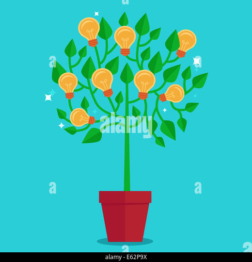 Tree concept in flat style - green plant with light bulbs on the branches - idea concept - Stock-Bilder