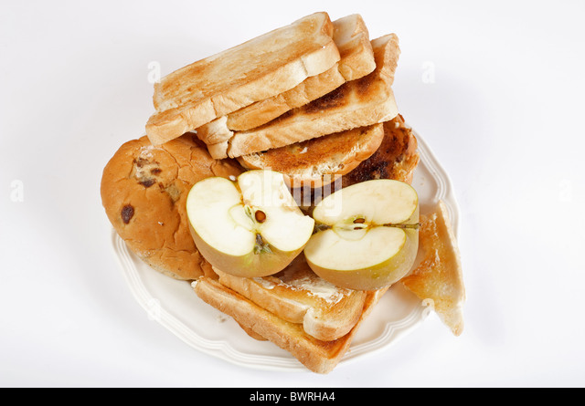 Breakfast food waste - Stock Image