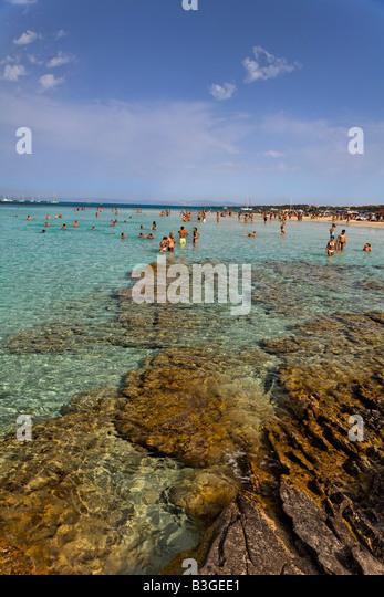 Italy Sardinia Stintino La Pelosa beach - Stock Image