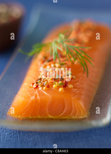 Thick piece of raw salmon - Stock Image