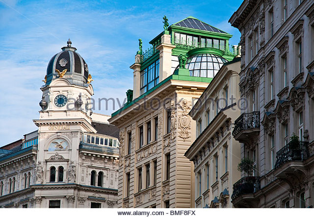 Generalihof and more baroque buildings along Graben pedestrian street, Vienna, Austria - Stock Image