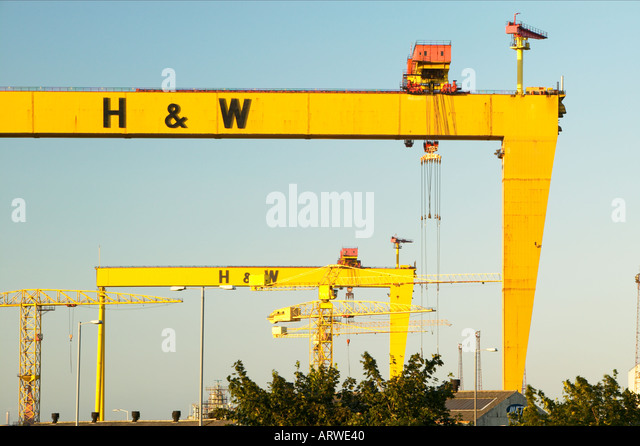 Northern Ireland Belfast Harland Wolff shipyard cranes Samson Goliath Prominent Belfast skyline feature - Stock Image
