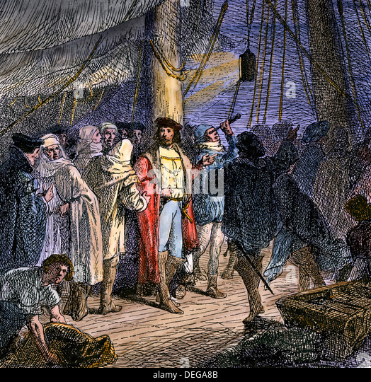 Columbus navigating by the stars from the deck of the Santa Maria, 1492. - Stock Image