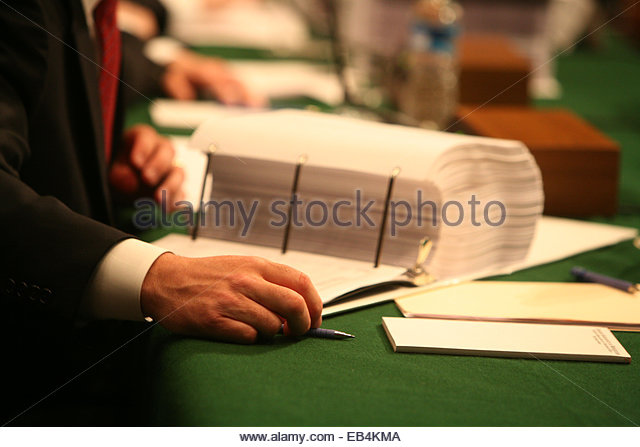 A committee hearing on Capitol Hill. - Stock Image
