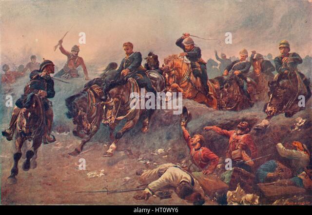 'British Artillery Entering the Enemy's Lines at Tel-el-Kebir, Egypt, 1882', 1883 (1906). Artist: Unknown. - Stock Image