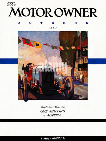 Motor Owner 1920 Motor Owner cover showing a Grand prix racing car roaring across the line - Stock Image