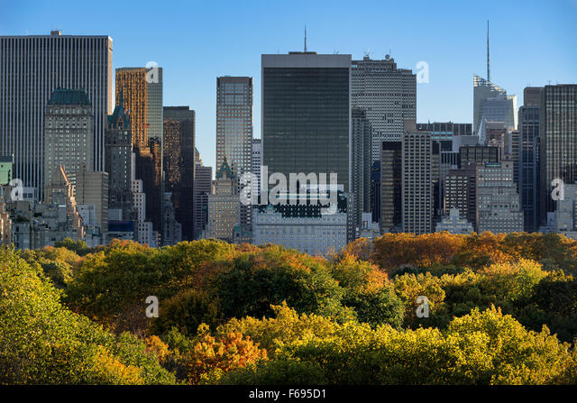 Central Park Fall Foliage and Midtown Manhattan Skyscrapers from above. New York City - Stock Image