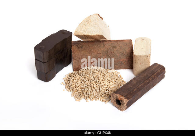 different fossil fuels on white background, carbon, ovenwood, pellets, briquettes, - Stock Image