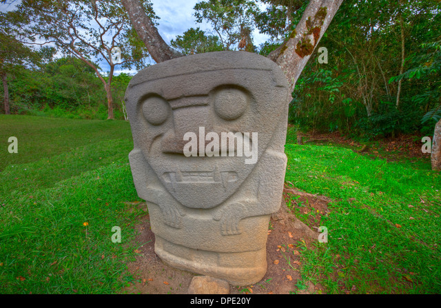 Ancient statue San Agustin Archaeological Park Colombia 3000 year statues from unknown culture - Stock Image