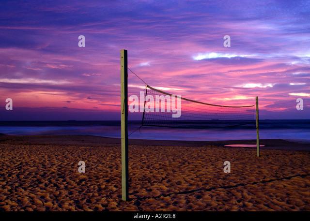 VA Virginia Beach Beach volleyball net at sunrise - Stock Image
