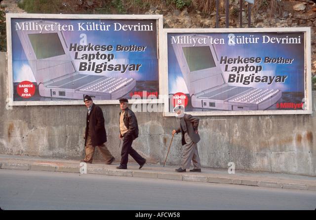Turkey Istanbul billboard advertising laptop computer - Stock Image