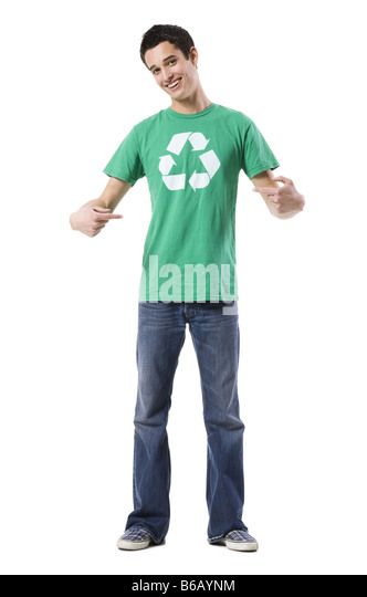young man in a recycling t-shirt - Stock Image