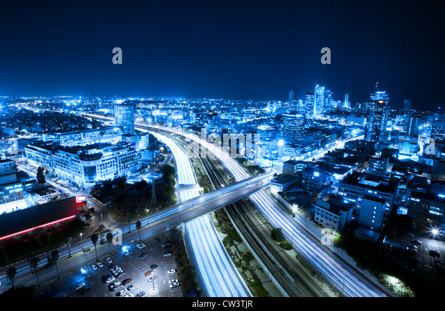 Aerial View Of Tel Aviv At Night - Tel Aviv Cityscape - Stock Image