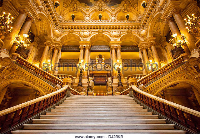 Ornate entrance to Palais Garnier - Opera House, Paris France - Stock Image