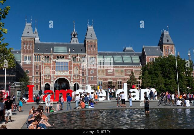 Rijksmuseum in Amsterdam in Amsterdam, Netherlands - Stock Image
