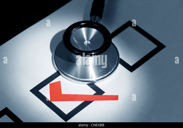 Stethoscope and Check Mark, concept of Voting - Stock Image