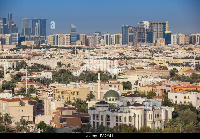 View of city skyline, Abu Dhabi, United Arab Emirates, Middle East - Stock Image
