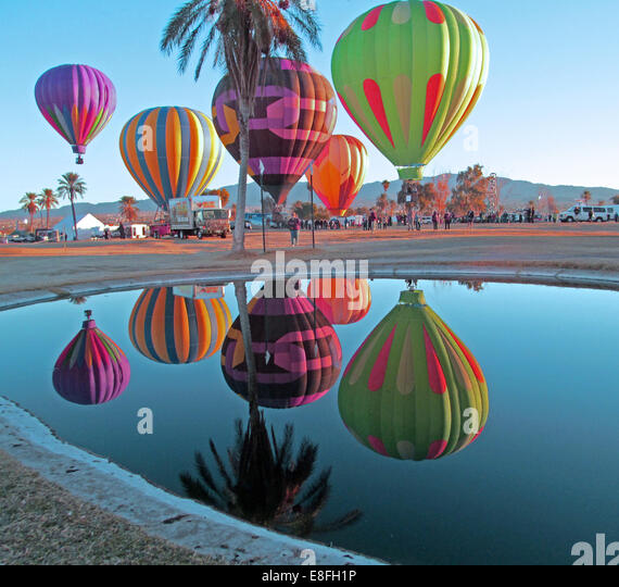 USA, Arizona, Mohave County, Lake Havasu City, Beachcomber Boulevard, Lake Havasu, Lake Havasu Balloon Festival, - Stock Image