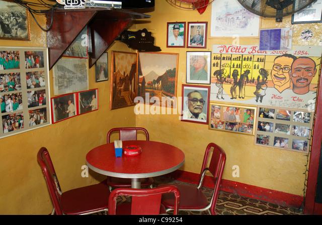 Curaçao Netherlands Antilles Dutch Willemstad Otrobanda Breedestraat Netto Bar neighborhood business table - Stock Image
