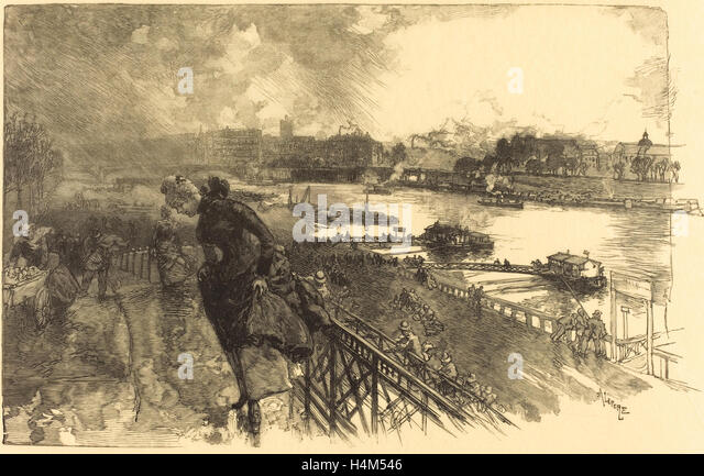 Auguste Lepère (French, 1849 - 1918), The Seine near the Austerlitz Bridge, 1888, wood engraving in black on - Stock Image