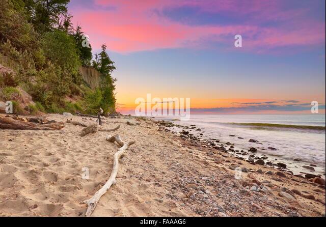 Orlowski Cliff, Baltic Sea at sunset, Gdynia, Pomerania, Poland - Stock Image