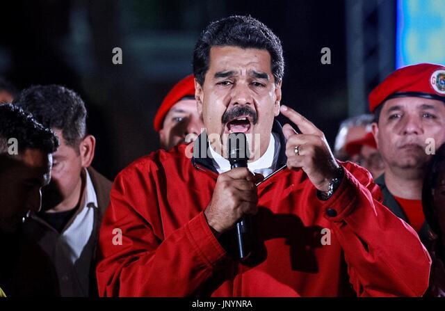 Caracas, Venezuela. 31st July, 2017. Venezuelan President Nicolas Maduro celebrates the election results at Plaza - Stock Image