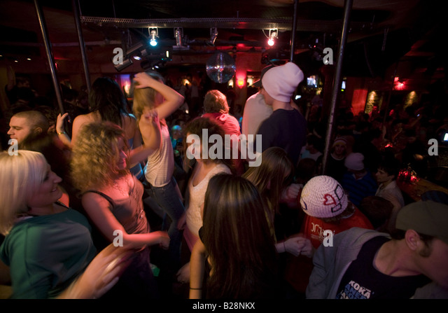 Party in Whistler Village British Columbia Canada - Stock Image