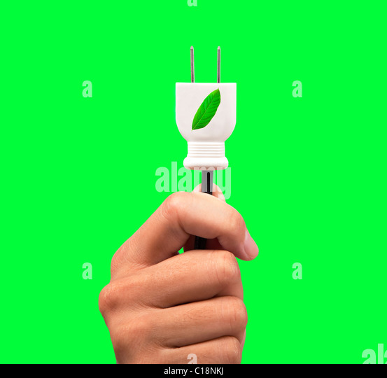 hand holding power plug and leaf logo with green background - Stock Image